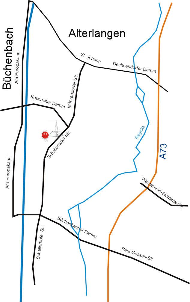 Lageplan Alterlangen Hauptstrassen