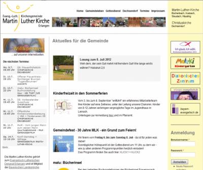 Internetseitenansicht Martin-Luther-Kirche Büchenbach