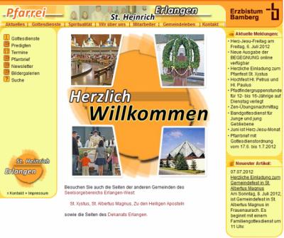 Internetseitenansicht St. Heinrich Alterlangen